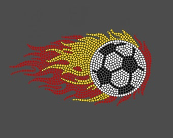 FLAME Soccer Ball Rhinestone Hot Fix Motif Iron On Transfer Lead Free for Sport Event Party