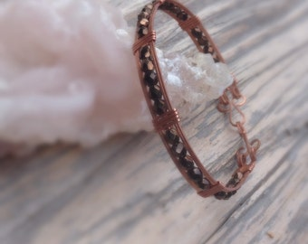 Stackable Copper Bangle - Beaded Bangle Bracelet - Fire Polished Beads Bangle - Stackable Bangle Bracelet