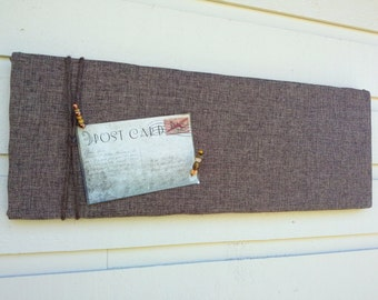 Polyester Linen Pin Board, Mans Memo board in chocolate brown for your office or bedroom a twine accent, masculine stylish and classic