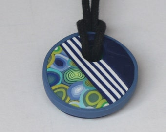 Small round pendant necklace in blue and green, polymer clay