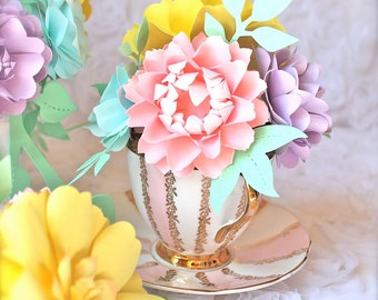Handmade Paper Flowers - 6 Small Centerpieces - made to match your style and color scheme