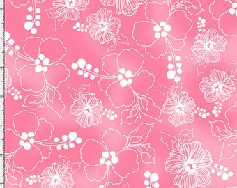 NEW Loralie Designs Lacey Hibiscus Pink fabric - 1 yard