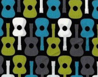 Michael Miller Groovy Guitars Lagoon Fabric - 1 yard
