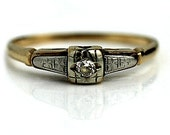 Art Deco Diamond Engagement Ring .07ctw Vintage Two Tone Old European Cut Engagement Ring Dainty promise Ring 14k Gold Size 4!