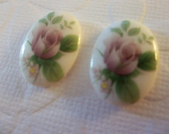 Vintage Decal Picture Stones - Pink Rose Glass Cameos on Chalkwhite Base - 18 X 13mm Cabochons - Qty 6