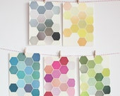 Colourful Art Postcard Set, Geometric Patterns, Affordable Art, Modern Stationery, Gift Ideas - The Honeycomb Set