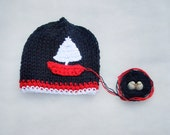 Sailboat Baby hat Baby cotton hat Newborn Photo prop Knit baby hat Gift for baby baby fashion Baby hat Spring Summer White blue red