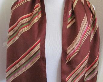 "ECHO // Beautiful Vintage Brown Silk Scarf - 15"" x 44"" Long - Best of the Best"