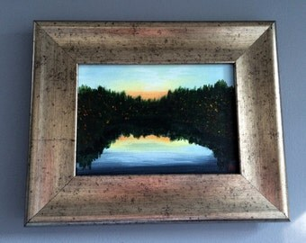 "Magnolia Lake-Original Acryclic Painting, Framed 8"" x 10"""