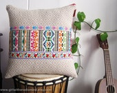 Colorful Pillow Mexican Beige - Native Folk Embroidery Trim with Aztec Design Throw Pillow Cushion Cover