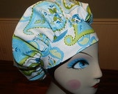 Blue and Green Paisley  Banded Bouffant Surgical Cap