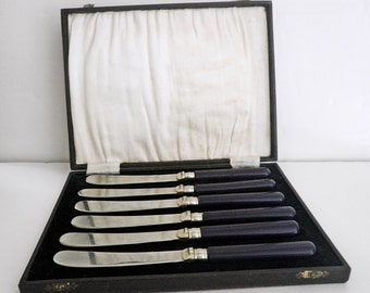 Vintage Butter Spreader Knives Blue Composition Handles w. Presentation Box