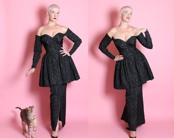 COUTURE 1950's Black Silk w/ Pink Diamonds Strapless Sweetheart Bust Hourglass Evening Gown w/ Huge Peplum Column Skirt by Ceil Chapman - L