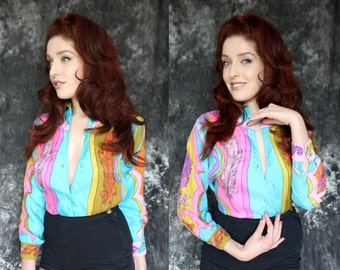 Vintage OUTRAGEOUS 1960s Psychedelic Feather Neon Silk Blouse