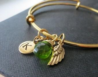 Angel wing bangle bracelet, birthstone initial bangle, personalized jewelry, memorial, keepsake, expandable bangle