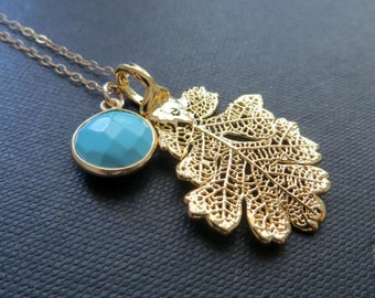 Gold oak leaf necklace & turquoise, REAL leaf necklace, boho, bohemian nature necklace,