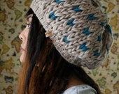 The Miranda Marie in Natural and Teal // Hand Knit Thick Slouch Baret Hearts Beanie