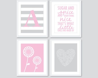 Pink and Grey Nursery Art Prints - Initial Sugar And Spice Flowers Heart - Choose Your Colors
