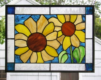 """Summer Sunflowers 2  --12.5"""" x 16.5"""" -- Stained Glass Window Panel"""