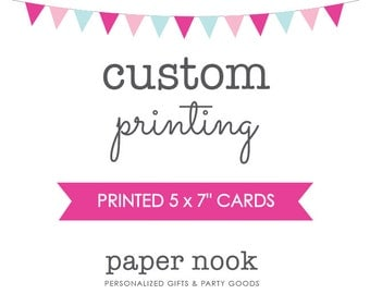"Professionally Printed 5x7"" Cards with Envelopes by Paper Nook"