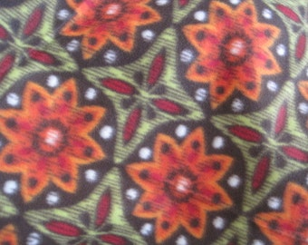 2 Layer Fleece  - Geometric Patterns in Brown, Green, Orange with Green - Ready to Ship Now