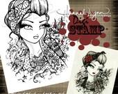 PRINTABLE Rockabilly Girl Tattoo Design Digi Stamp Coloring Page Fantasy Art Hannah Lynn