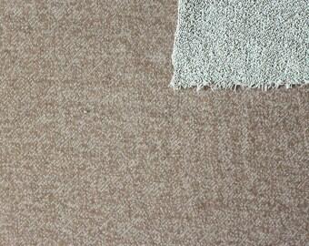 Light Brown Tan Camel Heathered French Terry Knit Sweatshirt Fabric, 1 Yard
