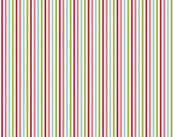 Red Green and Aqua Stripe Flannel, Merry Matryoshka by Carly Griffith for Riley Blake, Stripe Print in Mulit, 1 Yard