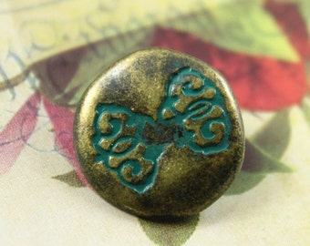 Metal Buttons - Cyan Bowknot Metal Buttons , Antique Brass Color , Shank , 0.87 inch , 10 pcs
