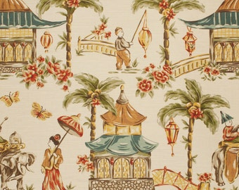 MOUGIN CHESTNUT home decor chinoserie print multipurpose fabric