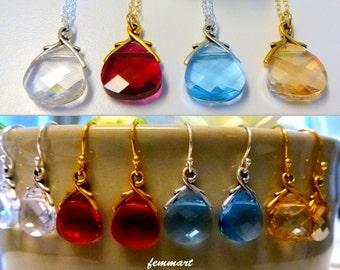 Bridesmaid Gift Necklace with Swarovski Crystal Briolette Drop Pendant