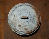 Vintage Galvanized Rust Witt Can Lid with Handle / Weathered Distressed Galvanized Metal / Wall Hanging
