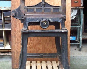 SALE Antique Vintage Industrial Machine Age Brooklyn N.Y. F. Wesel MFG Co Success Cast Iron Machined Steel Guillotine Paper Cutter and Base