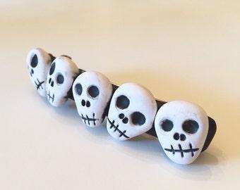 Black and White Skull Barrette