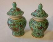 Pair of vintage Miniature lidded Chinese prnate porcelain Ginger Jars.