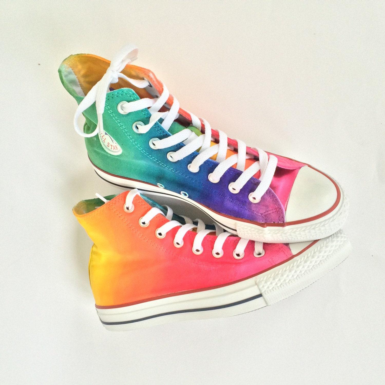 Tie Dye Rainbow Converse High Top Shoes