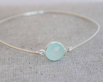 sterling silver and chalcedony bangle bracelet | stacking bracelets | aqua stone bracelet | beach inspired bracelet | bridesmaid gift