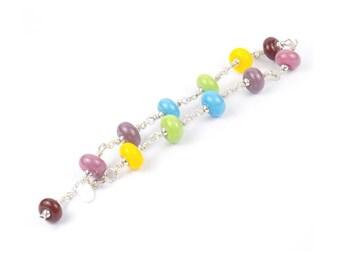 Rainbow Lampwork Glass Bracelet - Sterling Silver