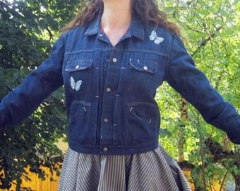 1960s dark denim Jacket  butterflies quilt lined mens M womens L/XL Ranchcraft