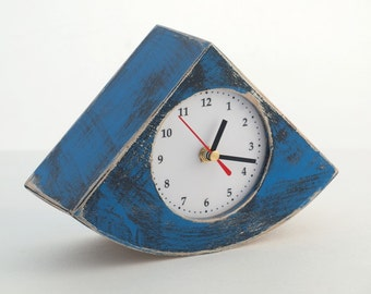 FREE SHIPPING - Desk Clock, Unique clock, Table clock, Blue clock, Wood clock