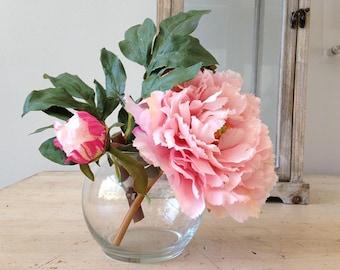 Silk peony arrangement, peony bouquet, pink peony, silk peonies, faux peonies, pink peonies, silk peony bouquet, garden, gift, hostess gift