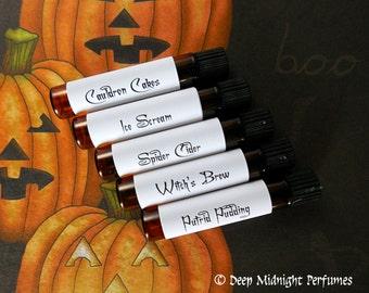 HALLOWEEN FEAST Perfume Sample Set # 6 - Deep Midnight Perfumes - Halloween Perfume - Fall Fragrance