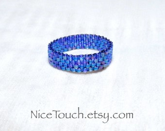 SUMMER SALE!!! Free Shipping or Save 20% ~ Starry Night woven peyote beaded ring ~ Made to Order