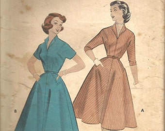1950s Full Skirt Dress Wing Collar Squared Armholes Dart Fitted Rockabilly Dance Dress Butterick 7028 Bust 32 Women's Vintage Sewing Pattern
