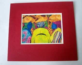 Matted Print of Three Bahamian Women Stylized in Vivid Color, 9x10 - Ready to Frame