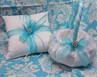 Wedding Ring bearer pillow And flowergirl basket set, beautiful Pearl Beach themed with pearls and Pool blue ribbon wedding ring pillow