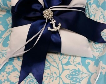 Wedding Ring bearer pillow, beautiful Beach themed with pearls an anchor and navy blue ribbon wedding ring pillow nautical themed