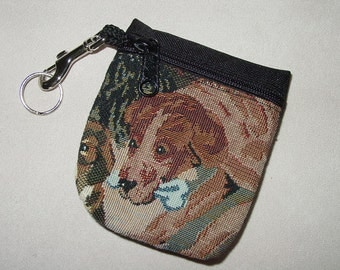 Dog Tapestry  Belt Pack/Key Chain Combo,Puppy Dog Handbag