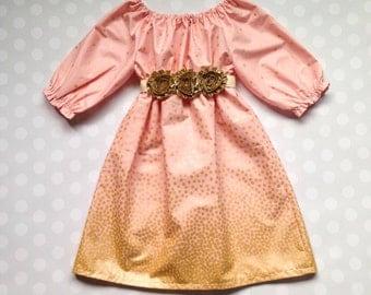 Girls Blush Dress - Girls Gold Dress - Dresses for Girls - Peach Blush and Gold Dress with 3/4 Sleeves - Baby Girl Dress - Fall Dress