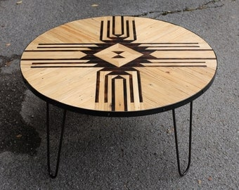 Reclaimed Round Coffee Table w/ Hairpin Legs